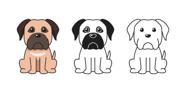 Insieme del fumetto di vettore di grande cane per il design.