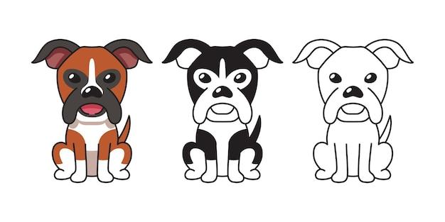 Insieme del fumetto di vettore del cane boxer per il design.