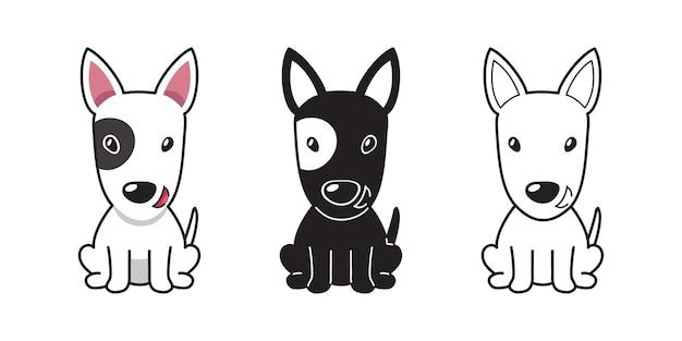 Insieme del fumetto di vettore del cane bull terrier per design