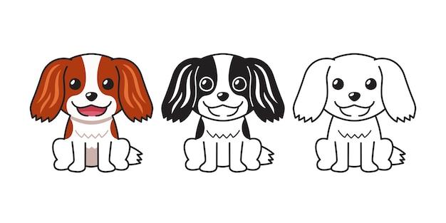 Insieme del fumetto di vettore del cane cavalier king charles spaniel per il design.