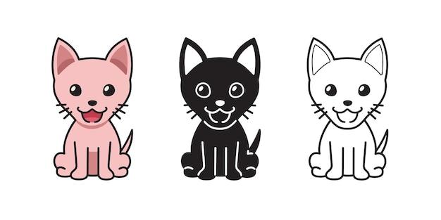 Insieme del fumetto di vettore del gatto sphynx di carattere per il design.