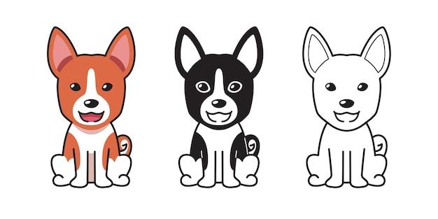 Insieme del fumetto di vettore del cane basenji carino per il design.