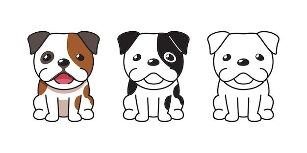 Insieme del fumetto di vettore del bulldog carino per il design.