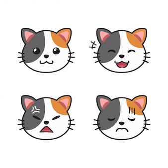 Insieme del fumetto di vettore di facce di gatto carino che mostrano emozioni diverse
