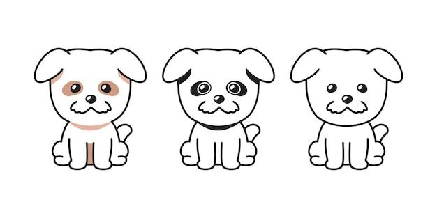 Insieme del fumetto di vettore del cane carino per il design.