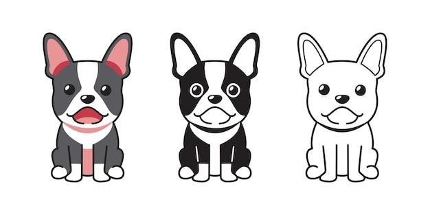 Insieme del fumetto di vettore del bulldog francese per il design.