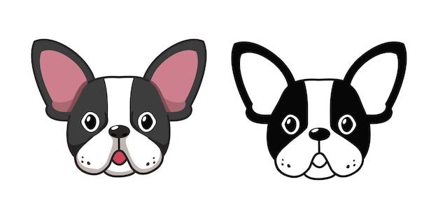 Insieme del fumetto di vettore dei volti del bulldog francese per il design.