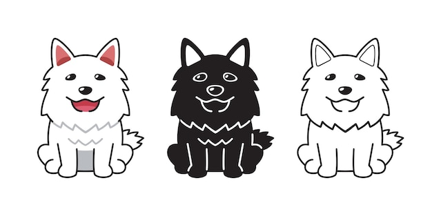 Insieme del fumetto di vettore del cane felice per il design.