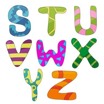 Insieme del fumetto di vettore di stile cartone animato isolato, lettere dell'alfabeto. design del tipo di carattere commerciale
