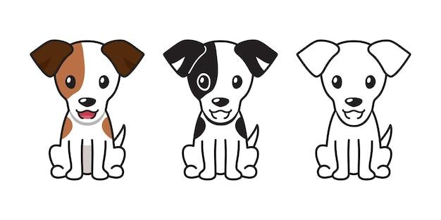 Insieme del fumetto di vettore del cane jack russell terrier per il design.