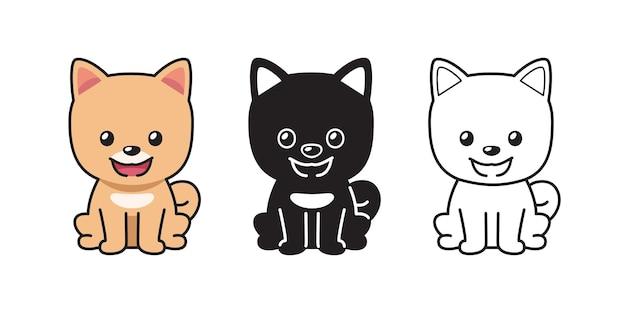 Insieme del fumetto di vettore del cane pomeranian pom per il design.