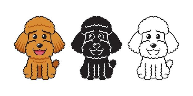 Insieme del fumetto di vettore del cane barboncino per il design.