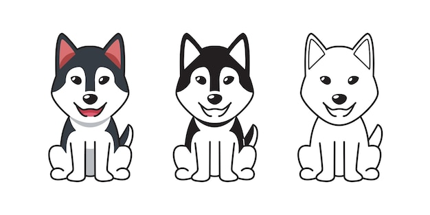 Insieme del fumetto di vettore del cane del husky siberiano per il design.