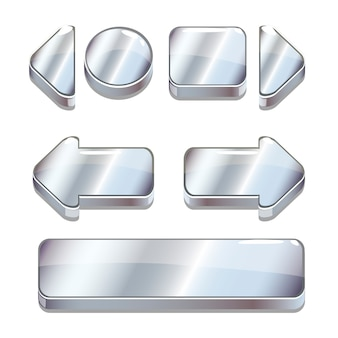 Bottoni d'argento del fumetto di vettore per il gioco o il web design