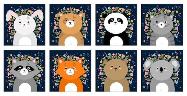 Illustrazione di animali di schizzo di fumetto vettoriale con fiori primaverili ed estivi