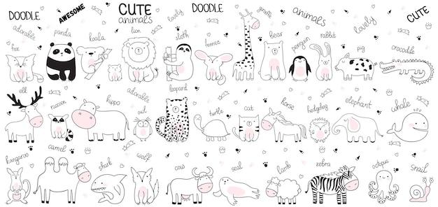 Illustrazione di schizzo del fumetto vettoriale con simpatici animali di doodle. perfetto per cartoline, compleanni, libri per bambini, camerette. agnello, coccodrillo, zebra, cammello, polpo, balena, squalo, lupo, mucca, lumaca