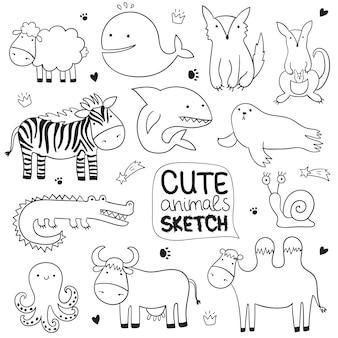 Illustrazione di schizzo del fumetto vettoriale con simpatici animali scarabocchiati