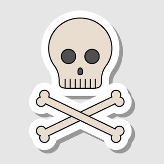 Adesivo teschio di cartone animato vettoriale con ossa contorni isolati di ossa umane