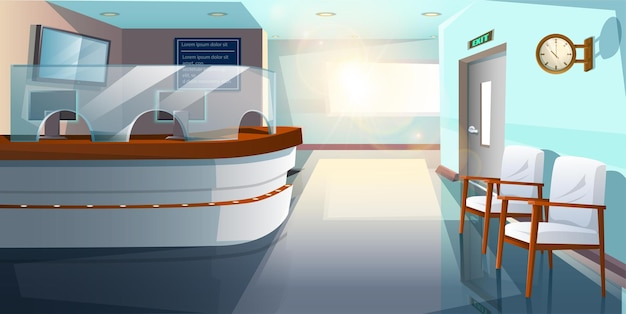 Vector cartoon style flat hospital reception hall.