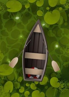 Paesaggio in stile cartone animato vettoriale di fiume verde o superficie ocra con piante acquatiche e barca a remi vuota con due remi.