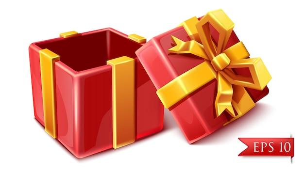 Scatola rossa celebrazione in stile cartone animato vettoriale con nastri dorati aperta.