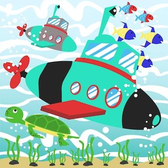 Sottomarino del fumetto vettoriale in sott'acqua con animali marini ed erbacce