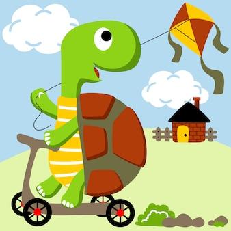 Cartoon vettore di tartaruga giocattolo aquilone su scooter