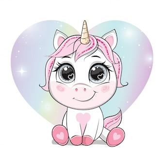 Unicorno del fumetto di vettore sopra l'arcobaleno a forma di cuore.