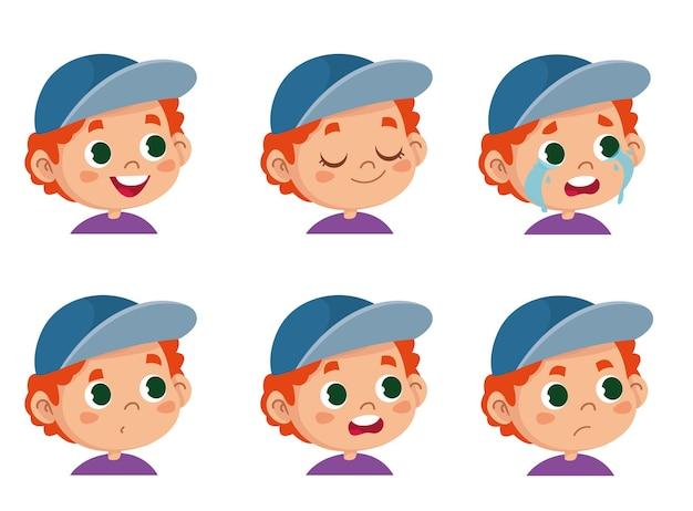 Carattere vettoriale divertente. illustrazione di facce carine di ragazzo scolaro dai capelli rossi che mostra emozioni diverse. avatar isolato su sfondo bianco clipart