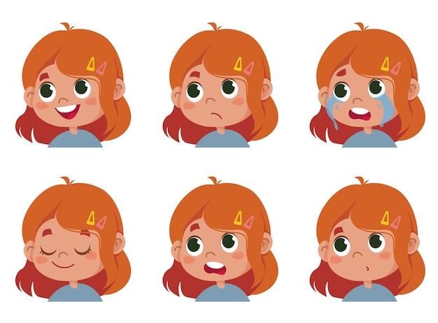 Carattere vettoriale divertente. illustrazione di facce carine di ragazza scolaro rossa che mostra emozioni diverse. avatar isolato su bianco clipart