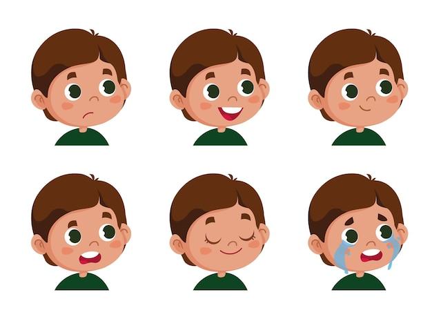 Carattere vettoriale divertente. illustrazione dei volti carini del ragazzo scolaro che mostra emozioni diverse. avatar isolato su sfondo bianco clipart