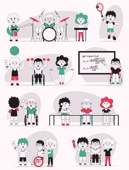 Illustrazione di carattere vettoriale di set di scene di vita di bambini disabili. ragazzi in sedia a rotelle o braccio protesico. i bambini vanno a scuola, fanno sport o hobby musicali