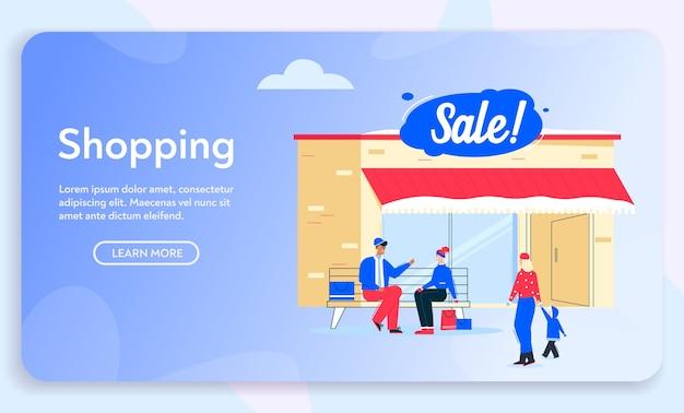 Illustrazione di carattere vettoriale di shopping sulla vendita invernale. set di persona isolata donna, uomo, compratori di bambini che camminano, si siede al banco.