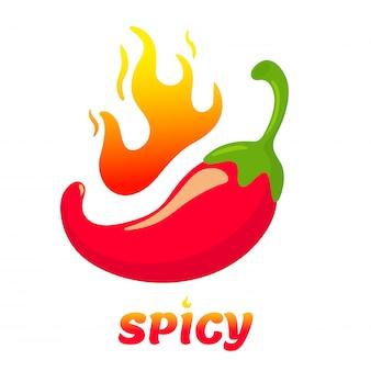 Peperoncini vettoriali che sono caldi fino a quando il fuoco brucia. cibo piccante in stile messicano. isolare su sfondo bianco.