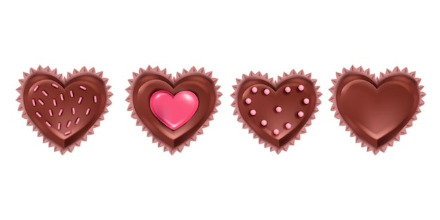 Insieme realistico di giorno di biglietti di s. valentino della caramella di cioccolato di vettore isolato su bianco. icone dolci romantiche del dessert 3d con i cupcakes di amore a forma di cuore di festa. caramella di cioccolato regalo di febbraio deliziosa collezione