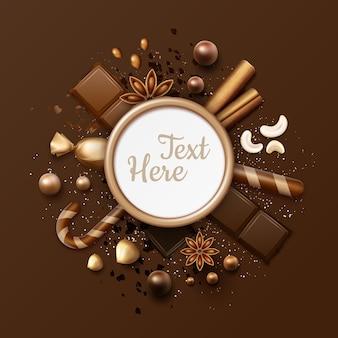 Cornice piatta al cioccolato vettoriale con caramelle a sfera, bastoncini di cannella, anice stellato, noci, dolci in involucro lucido, lecca-lecca a strisce e posto per testo o copyspace da vicino vista dall'alto