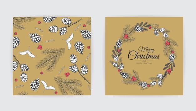 Set di cartoline di natale vettoriali