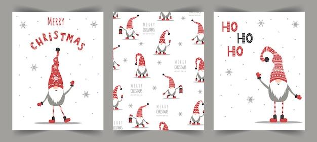 Cartoline di natale vettoriali con gnomi. saluto di stagione.