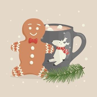 Illustrazione del fumetto di natale di vettore. omino di pan di zenzero, tazza decorata di tè o caffè con l'immagine di un simpatico cervo. rametto di abete o pino. decorazione del nuovo anno
