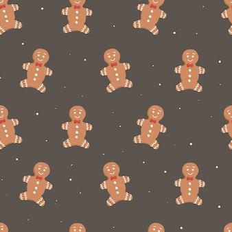 Illustrazione del fumetto di natale di vettore. modello senza cuciture, decorazione di sfondo sul tema del nuovo anno. omino di pan di zenzero con decorazione.