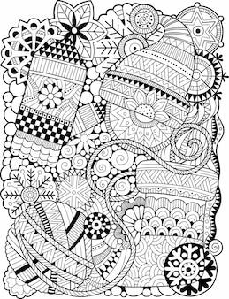 Libro da colorare di natale di vettore per adulto. fantasia doodle disegno invernale su sfondo bianco