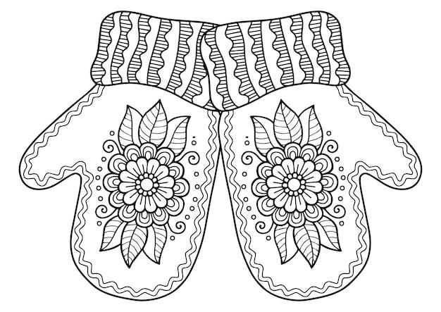 Pagina da colorare di natale di vettore per adulti. guanti lavorati a maglia