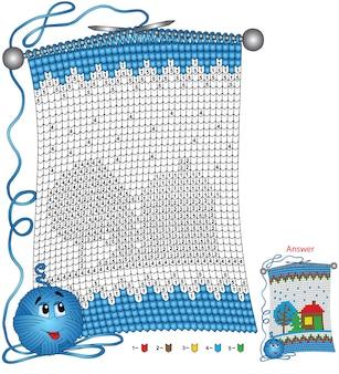 Pagina da colorare di natale di vettore. i compiti per i bambini colorano in base al numero sotto forma di una sciarpa lavorata a maglia con l'immagine di una casa innevata