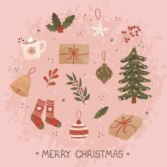 Biglietto di auguri natalizio vettoriale con illustrazioni scarabocchiate disegnate a mano di oggetti natalizi