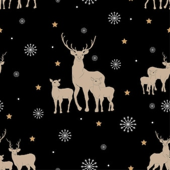 Reticolo senza giunte di natale di vettore con stella di renna e fiocchi di neve su sfondo nero
