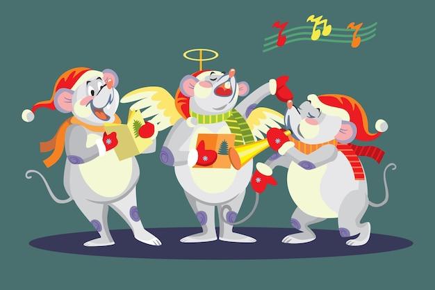 Topi cantanti di natale vettoriali