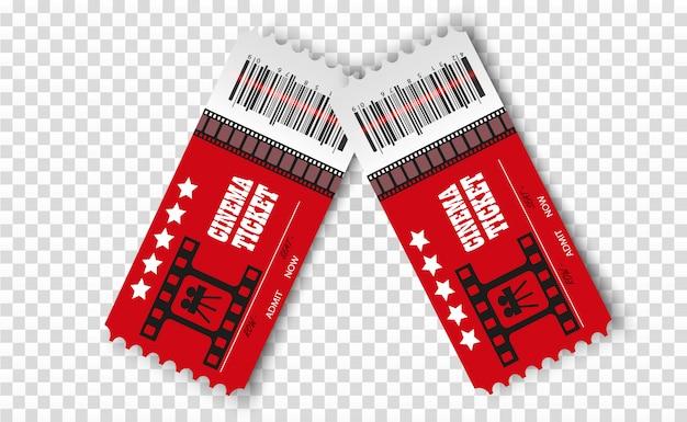 Biglietti del cinema vettoriale isolati. biglietto d'ingresso al cinema realistico.