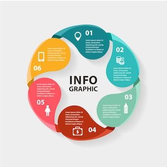 Infografica cerchio vettoriale modello per diagramma grafico presentazione e grafico concetto di affari con o