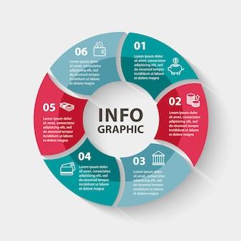 Infografica cerchio vettoriale modello per diagramma grafico presentazione e grafico business concept