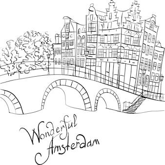 Vista della città di vettore del canale e del ponte di amsterdam